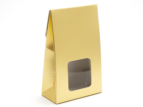 Small Matt Gold A-Frame Carton with Sq. Window | Meridian Speciality Packaging