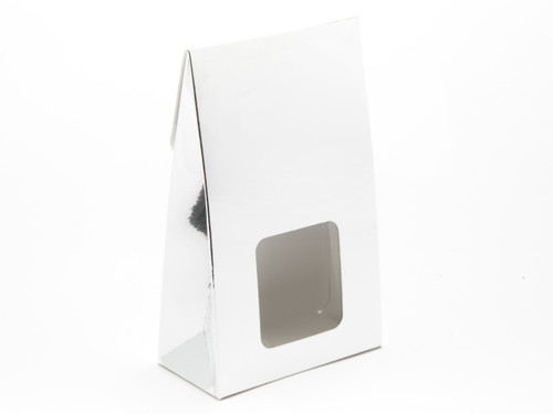 Small Bright Silver A-Frame Carton with Sq. Window | Meridian Speciality Packaging
