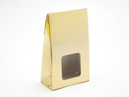 Small Bright Gold A-Frame Carton with Sq. Window | Meridian Speciality Packaging