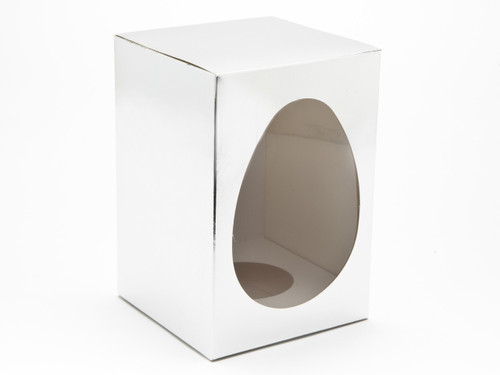 Medium Easter Egg Carton and Plinth - Bright Silver | MeridianSP