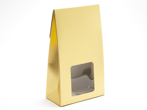 Large Matt Gold A-Frame Carton with Sq. PVC Window | MeridianSP