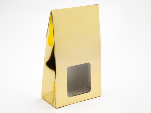 Large Bright Gold A-Frame Carton with Sq. PVC Window | Meridian Speciality Packaging