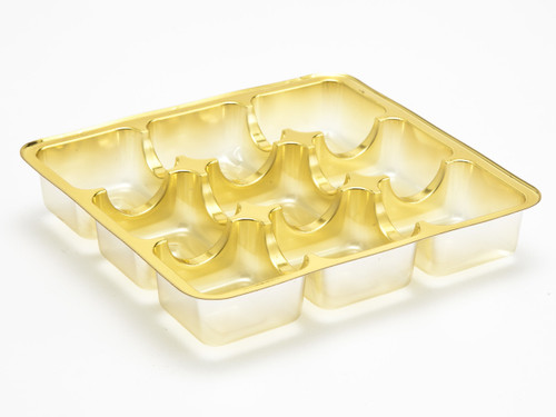 9 Choc Square Vac-Forme Tray - Gold | Meridian Speciality Packaging