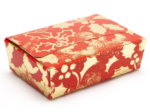 6 Choc Ballotin - Red and Gold Holly | Meridian Speciality Packaging