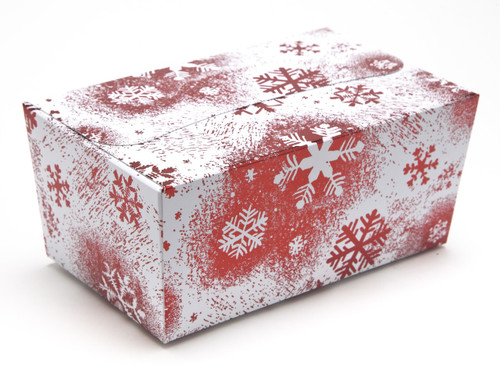 500g Ballotin - Red and White Snowflake | Meridian Speciality Packaging