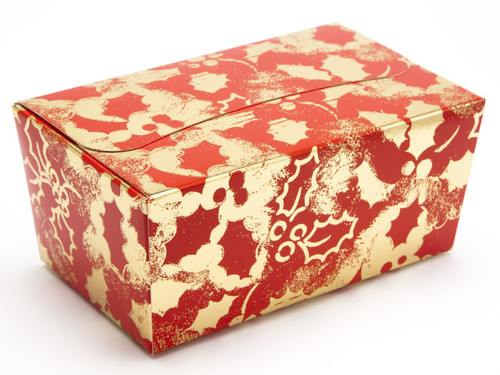 500g Ballotin - Red and Gold Holly | Meridian Speciality Packaging