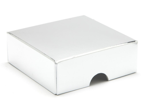 4 Choc Lid - Bright Silver [LID ONLY] | Meridian Speciality Packaging