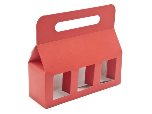 3x8oz (Jars) Carry Handle Window Carton - Red| MeridianSP