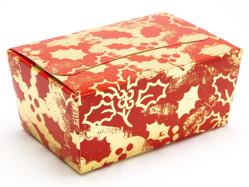 375g Ballotin - Red and Gold Holly | Meridian Speciality Packaging