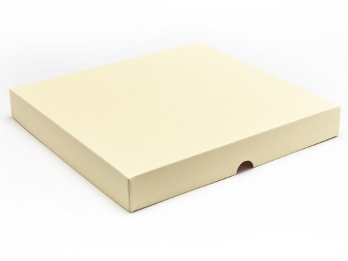 36 Choc Square Wibalin Lid - Cream [LID ONLY] | Meridian Speciality Packaging