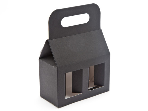 2x8oz (Jars) Carry Handle Window Carton - Black | MeridianSP
