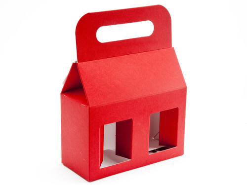 2x12oz (Jars) Carry Handle Window Carton - Red | MeridianSP