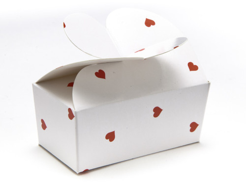 2 Choc Ballotin - Small Red Hearts on White | MeridianSP