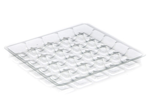 25 Choc Square Vac-Forme Tray - Clear | MeridianSP