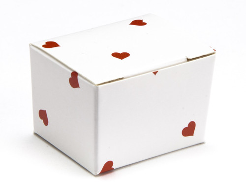 1 Choc Ballotin - White Red Heart | Meridian Speciality Packaging