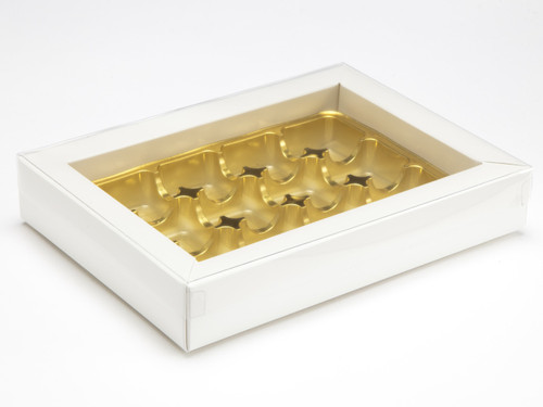 12 Choc White Buffer Base and PVC Lid | Meridian Speciality Packaging