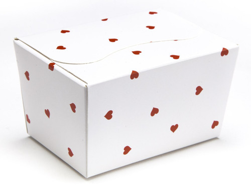 125g Ballotin - White Red Heart | Meridian Speciality Packaging