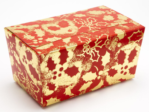 1000g Ballotin - Red and Gold Holly | Meridian Speciality Packaging