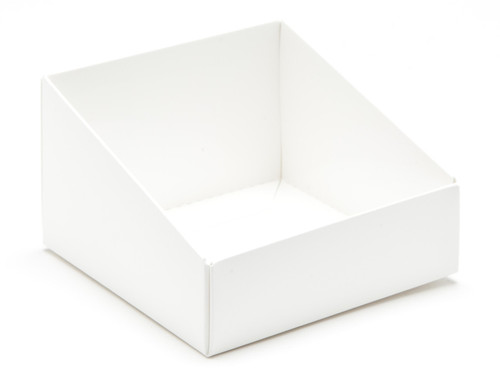 White Angled Base for Small Tapered Transparent Carton | MeridianSP