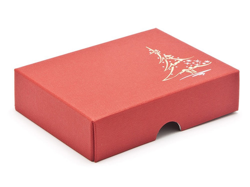 Elegant premium red embossed lid with metallic foiled Christmas tree design - for 6 chocolates
