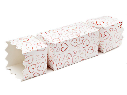 Light Hearts Large sized Twist End Cracker - Twist-Lock Gift Packaging Cracker Carton Gift Carton Ideal for Valentine's occasions or wedding or gifting