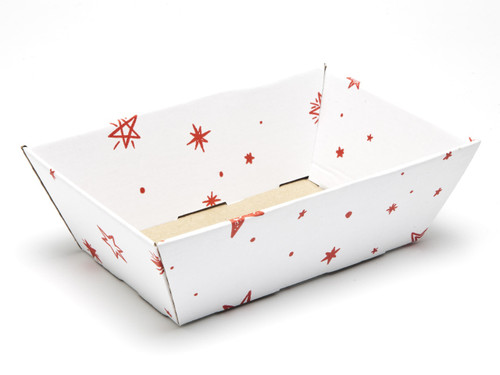 White with Red Stars pattern Small sized Card Tray Hamper - Fold-up Tapered Gift Tray Ideal for Christmas or Gifting occasions