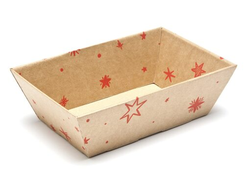 Kraft Stars Small sized Card Tray Hamper - Fold-up Tapered Gift Tray Ideal for Christmas or Gifting occasions