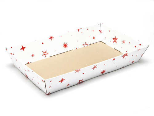 White with Red Stars pattern Large sized Card Tray Hamper - Fold-up Tapered Gift Tray Ideal for Christmas or Gifting occasions