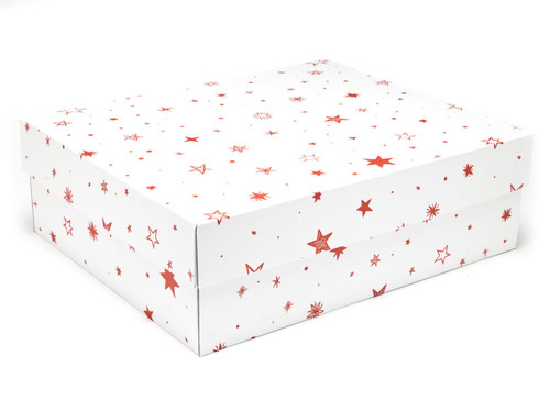 White with Red Stars pattern Large sized General Purpose Gift Box - Gift Box - Larger Size Ideal for Christmas or Gifting occasions