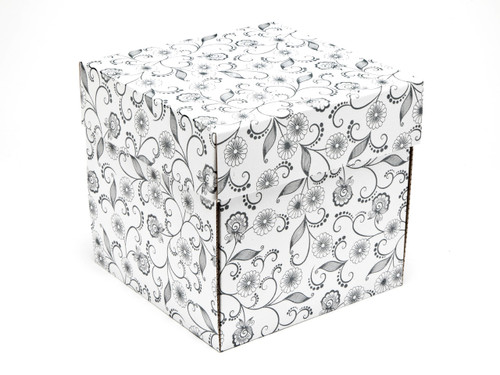 White with Floral Pattern Large Cube sized General Purpose Gift Box - Gift Box - Larger Size Ideal for Christmas or Gifting occasions