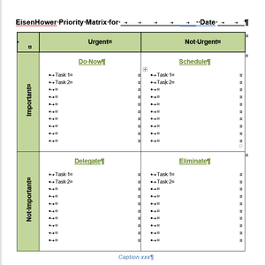 Eisenhower / Urgent Important Matrix Template for Word