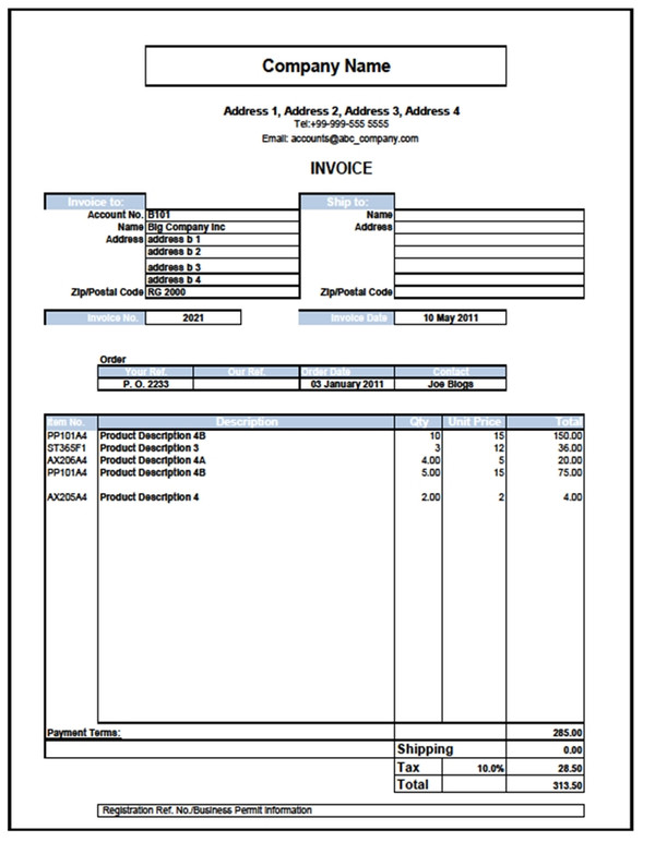 Excel Invoice Template With Sales Analysis And Accounting