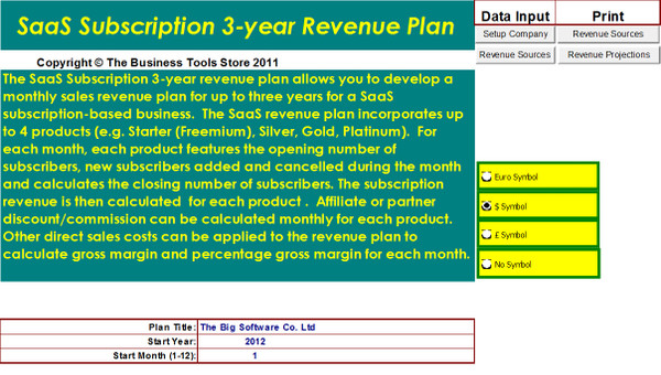 Software as a Service SaaS Individual Subscriber Business Model Template Excel