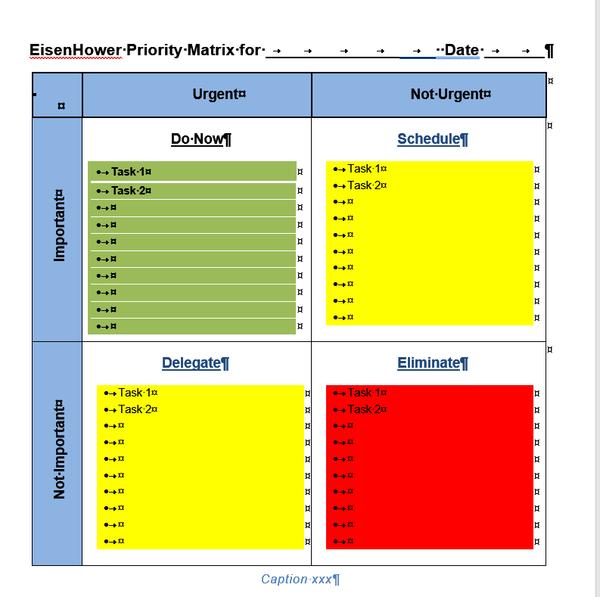 action priority eisenhower urgent important matrix template