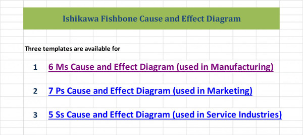 Cause and effect ishikawa diagram excel ishikawa diagram template cause and effect ishikawa fishbone diagrams excel template menu ccuart Choice Image