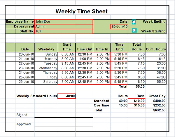 Excel Timesheet Templates Excel Timesheets