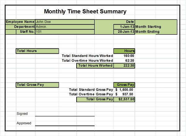 Timesheet Templates Excel 1, 2 & 4 week versions
