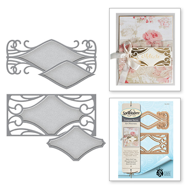 Shapeabilities Art Nouveau Metro Style Tags Stacey Caron Etched Dies