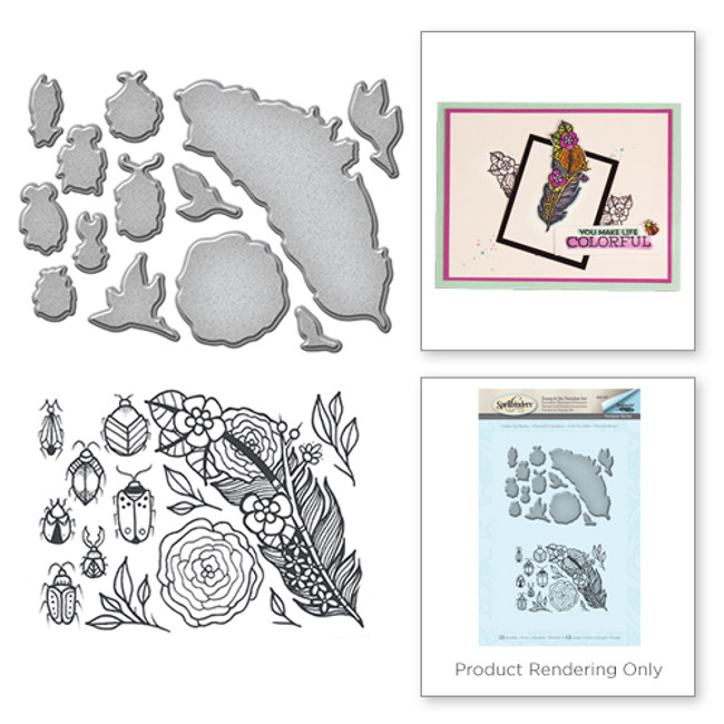 Feather and Beetles Stamp and Die Set from the Spring Love Collection by Stephanie Low