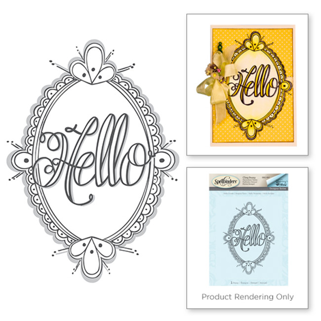 Hello Ornate 3d Shading Stamp from the Happy Grams #2 Collection by Tammy Tutterow