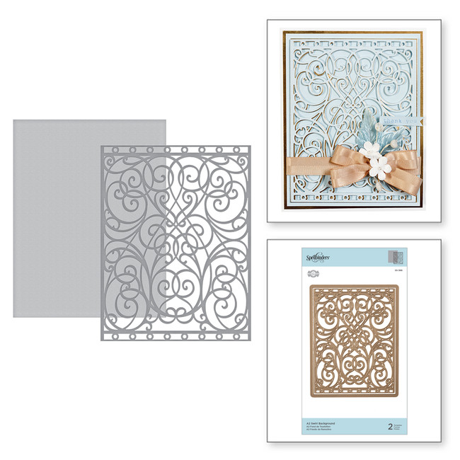 Card Creator A2 Swirl Background Etched Dies Romancing the Swirl Becca Feeken