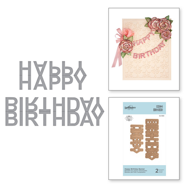 Die D-Lites Happy Birthday Banner Etched Dies Exquisite Splendor by Marisa Job