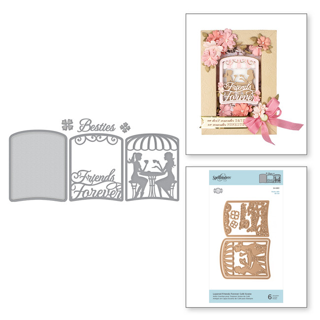 Shapeabilities Layered Friends Forever Café Scene Etched Dies Shadowbox by Becca Feeken