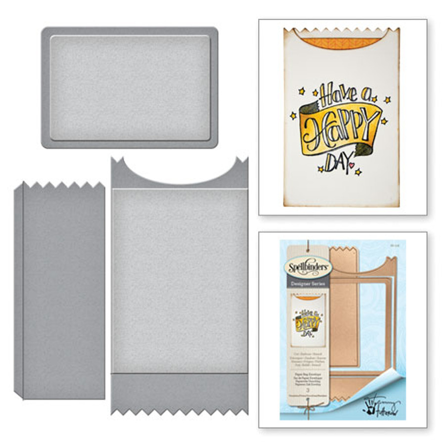Shapeabilities Paper Bag Envelope Happy Grams by Tammy Tutterow Etched Dies