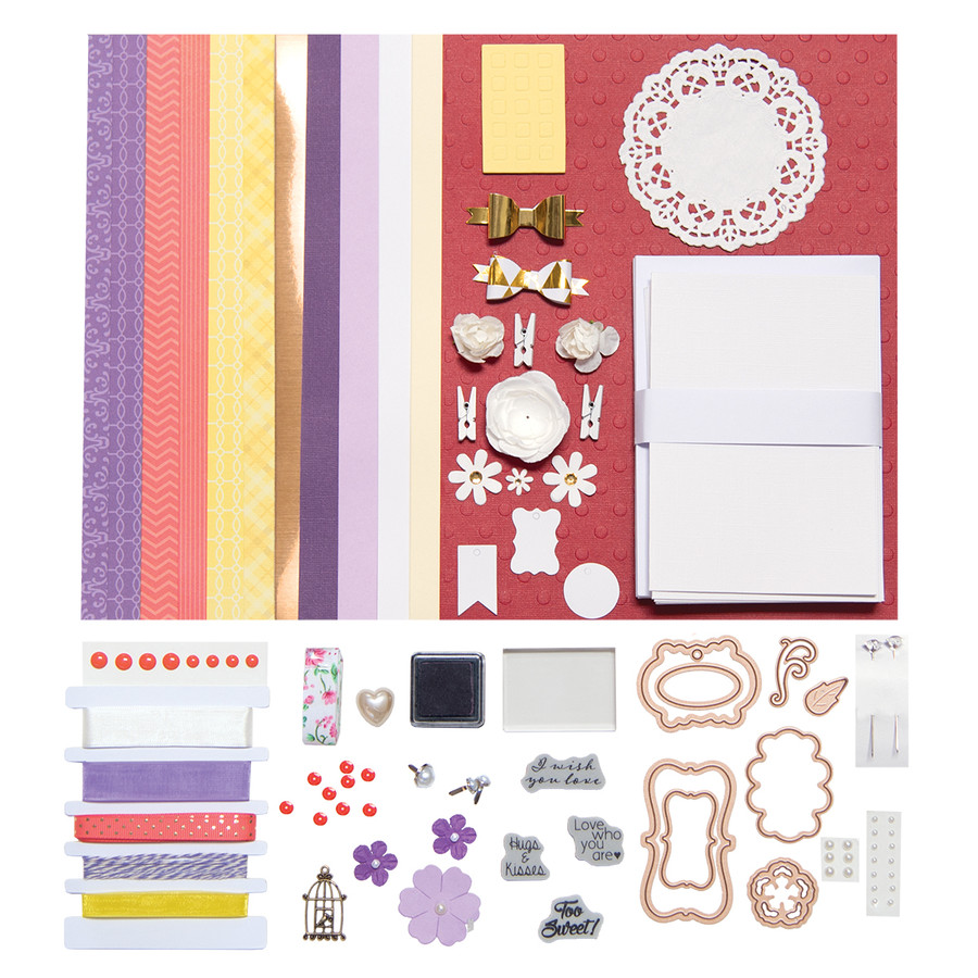 Yellow, Purple, & Coral Cool & Crisp Card Kit - Card Kit of the Month Club
