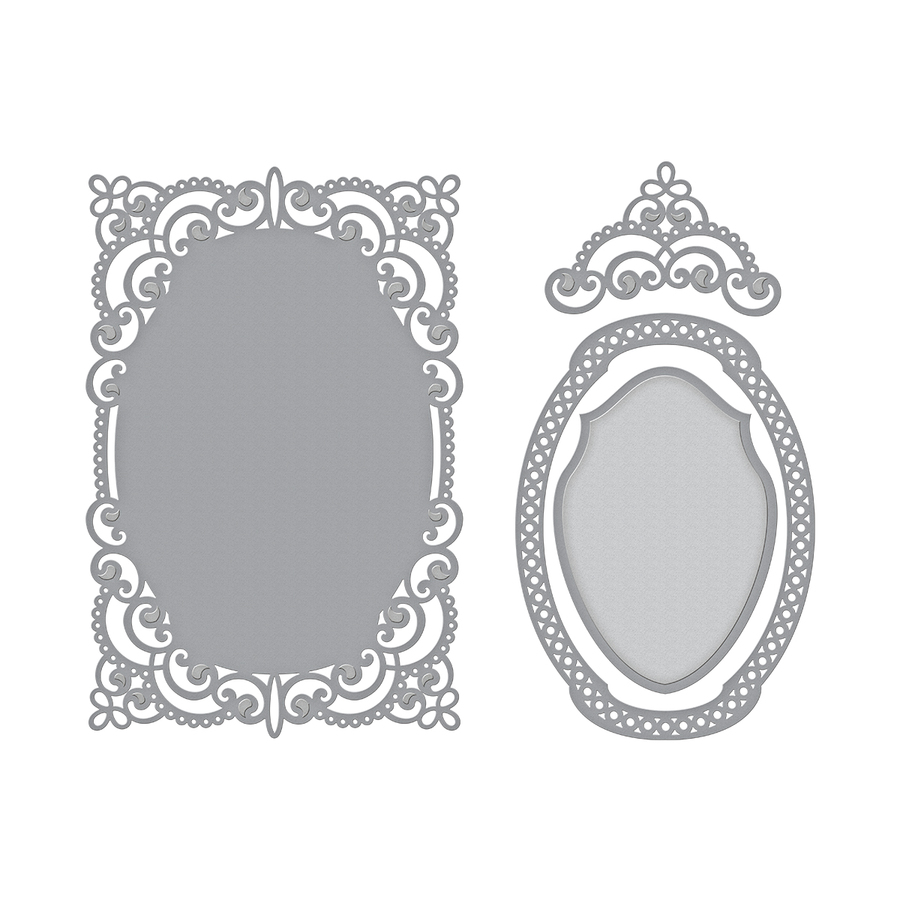 Shapeabilities Annabelle's Trousseau Layering Frame Medium Etched Dies Chantilly Paper Lace Collection by Becca Feeken