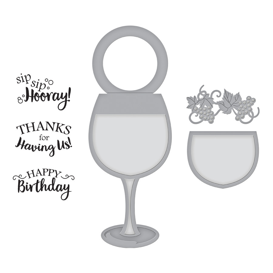 Spellbinders WINE GLASS BOTTLE TAG STAMP AND DIE SET