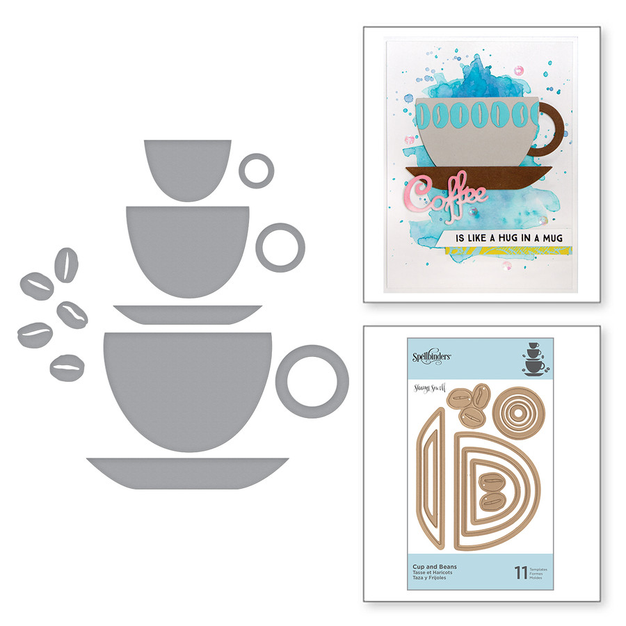 Die D-Lites Cup and Beans Etched Dies Cuppa Coffee, Cuppa Tea Collection by Sharyn Sowell