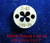 """Thread #2-80 UNS-3A; Precision Thread die for threading round stock diameter of die is 12mm / 15/32"""".  Made of High speed Steel then hardened made in Switzerland."""