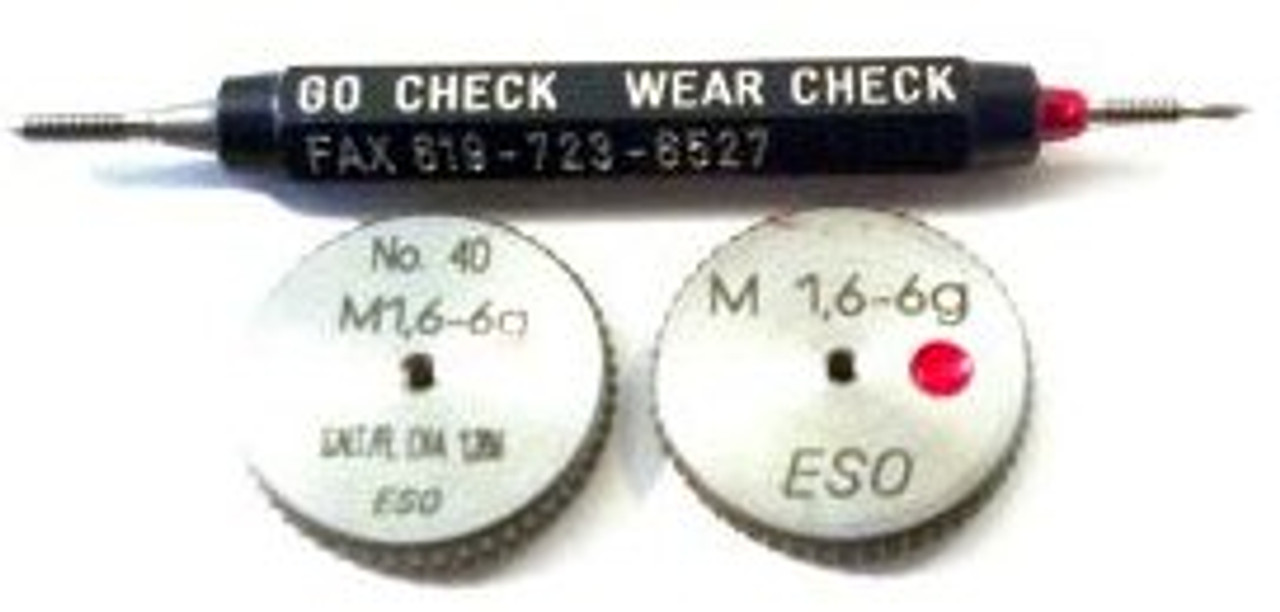 Metric Thread Ring Gage M1.6 pitch 0.35mm Class 6g;  Three piece set with; Go and No-Go Ring members Plus wear check plug. Precision Thread Gage made of High Speed Steel then hardened made in Switzerland to our specification. Picture is representative of set.  Wear check gage is used for recalibration in house.